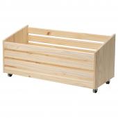 ИВАР Ящик для хранения, на колесиках, сосна, 78x30 см