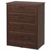 СОНГЕСАНД Комод с 4 ящиками, коричневый, 82x104 см