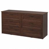 СОНГЕСАНД Комод с 6 ящиками, коричневый, 161x81 см