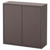ЭКЕТ Шкаф с 2 дверцами и 2 полками, темно-серый, 70x25x70 см