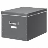 ФЬЕЛЛА Коробка с крышкой, темно-серый, 35x56x30 см