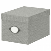 КВАРНВИК Коробка с крышкой, серый, 18x25x15 см