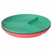 ХЭРОИСК Тарелка с 3 отделениями, светло-красный, зеленый, 22 см