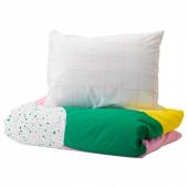 МЁЙЛИГХЕТ Пододеяльник и 1 наволочка, розовый, графический орнамент, 150x200/50x70 см