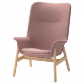 ВЕДБУ Кресло c высокой спинкой, Гуннаред светлый коричнево-розовый