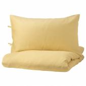 ПУДЕРВИВА Пододеяльник и 2 наволочки, светло-желтый, 200x200/50x70 см