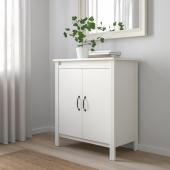 БРУСАЛИ Шкаф с дверями, белый, 80x93 см