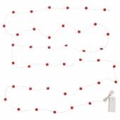 СТРОЛА Гирлянда, 40 светодиодов, с батарейным питанием мини, звезда красный