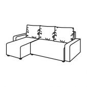 ГИММАРП Диван-кровать с козеткой, Рудорна светло-серый