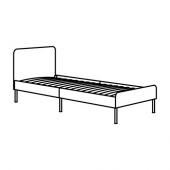 СЛАТТУМ Каркас кровати с обивкой, Книса светло-серый, 90x200 см