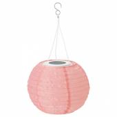 СОЛВИДЕН Подвесная светодиодная лампа, для сада, шаровидный розовый, 22 см