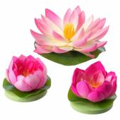 СМИККА Искусственный цветок,плавающий,3шт., д/дома/улицы Водяные лилии