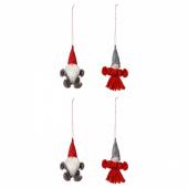 ВИНТЕР 2020 Подвесные украшения, 4 предм., Санта Клаус красный, серый, 10.5 см