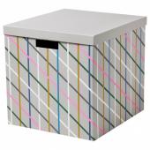 ТЬЕНА Коробка с крышкой, серый разноцветный, бумага, 32x35x32 см