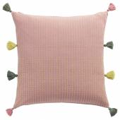 КЛАРАФИНА Чехол на подушку, ручная работа розовый, зеленый, 50x50 см