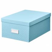 ПАЛЬРА Коробка с крышкой, голубой, 25x35x15 см