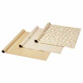 ВИНТЕР 2020 Рулон оберточной бумаги, орнамент «имбирное печенье», орнамент «точки» коричневый, 3x0.7 м/2.10 м²x3 шт