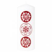 ВИНТЕР 2020 Неароматич свеча формовая, орнамент «снежинки» белый/красный, 20 см