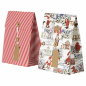 ВИНТЕР 2020 Подарочный пакет, орнамент «Санта Клаус», орнамент «полоска» красный, 20x26 см/2.5 л