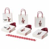 ВИНТЕР 2020 Подарочный пакет, орнамент «Санта Клаус» белый, 10x10 см