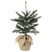 ВИНТЕР 2020 Искусственное растение в горшке, д/дома/улицы джут, рождественская елка зеленый, 19 см