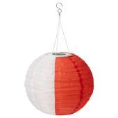 СОЛВИДЕН Подвесная светодиодная лампа, белый оранжевый, для сада шаровидный, 30 см