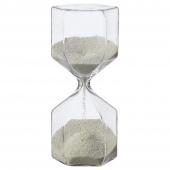 ТИЛЛСЮН Декоративные песочные часы, прозрачное стекло, белый, 16 см