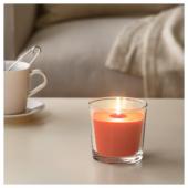 СИНЛИГ Ароматическая свеча в стакане, Персик и апельсин, оранжевый, 9 см