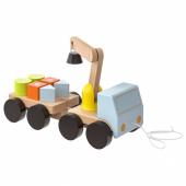 МУЛА Подъёмный кран с кубиками, разноцветный, бук