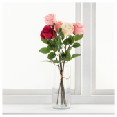 СМИККА Цветок искусственный, Роза, красный, 52 см