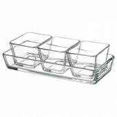 МИКСТУР Форма/блюдо д/дхвк, 4 шт, прозрачное стекло