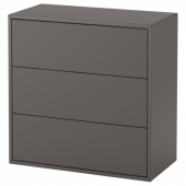 ЭКЕТ Шкаф с 3 ящиками, темно-серый, 70x35x70 см