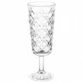 ФЛИМРА Бокал для шампанского, прозрачное стекло, с рисунком, 19 сл