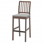 ЭКЕДАЛЕН Стул барный, коричневый, Оррста светло-серый, 75 см