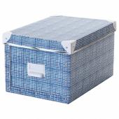 ФЬЕЛЛА Коробка с крышкой, белый, синий, 25x36x20 см