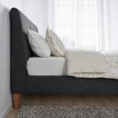 ИДАНЭС Каркас кровати с обивкой, Гуннаред темно-серый, 140x200 см