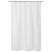 БАСТШЁН Штора для ванной, белый, серый/бежевый, 180x200 см