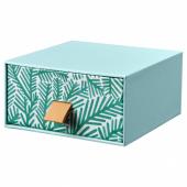 ЛАНКМОЙ Мини-комод, голубой, орнамент «листья», 12x12 см