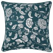 ИДАЛИННЕЯ Чехол на подушку, синий/белый, с цветочным орнаментом, 50x50 см