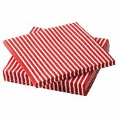 ВИНТЕР 2020 Салфетка бумажная, орнамент «полоска» красный/белый, 24x24 см