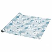 ВИНТЕР 2020 Рулон оберточной бумаги, орнамент «зимняя деревня» сине-серый, 3x0.7 м