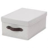 БЛЭДДРАРЕ Коробка с крышкой, серый, с рисунком, 25x35x15 см