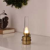 СТРОЛА Настольная лампа, светодиодная, с батарейным питанием, желтая медь