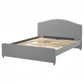 ХАУГА Каркас кровати с обивкой, Висле серый, 160x200 см
