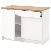 КНОКСХУЛЬТ Напольный шкаф с дверцами и ящиком, белый, 120 см