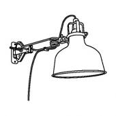 РАНАРП Настенный софит/лампа с зажимом, белый с оттенком