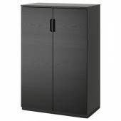 ГАЛАНТ Шкаф с дверями, ясеневый шпон/черная морилка, 80x120 см
