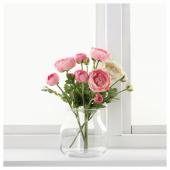 СМИККА Цветок искусственный, лютик, розовый, 52 см