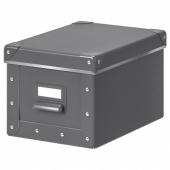 ФЬЕЛЛА Коробка с крышкой, темно-серый, 18x26x15 см