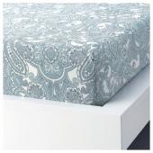 ЙЭТТЕВАЛЛМО Простыня натяжная, белый, синий, 160x200 см
